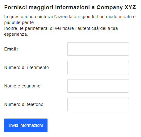 Il modulo per la richiesta di informazioni inviato tramite lo strumento Trova utente, per conoscere l'email, il numero di riferimento, il nome, il cognome e il numero di telefono dell'autore di una recensione