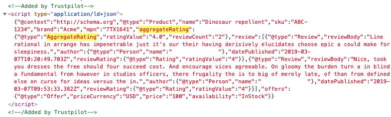 Ejemplo de código que resalta dónde se puede encontrar 'aggregrateRating'