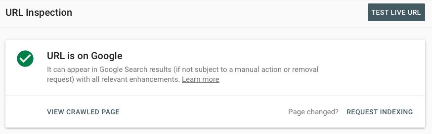 Ejemplo de resultado de una inspección de URL en Google Search Console