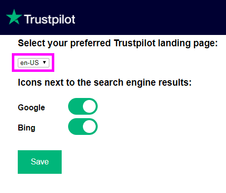 Configureer de Google Chrome-extensie van Trustpilot voor de landingspagina en zoekmachine