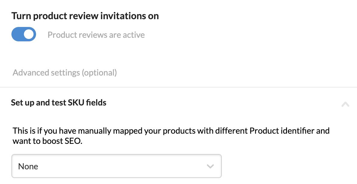 Screenshot af Product Reviews-fanen i en integration